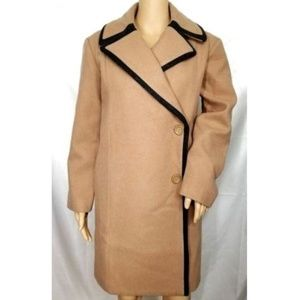 Kate Spade Saturday Walnut Piped Oversize Overcoat